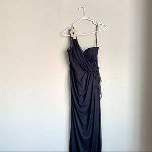 Navy blue one shoulder formal dress xscape